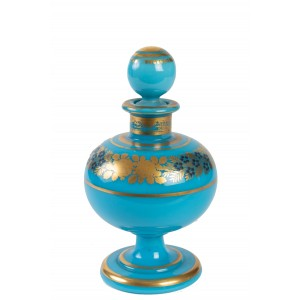Perfume Bottle in Turquoise Blue Opaline