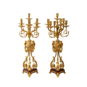 Pair of Important Candelabra in Gilt Bronze and Griotte Marble