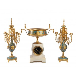 Cloisonné and Enamelled Bronze Set, signed F. Barbedienne