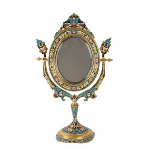 Golden Bronze and Cloisonné Mirror, 19th century