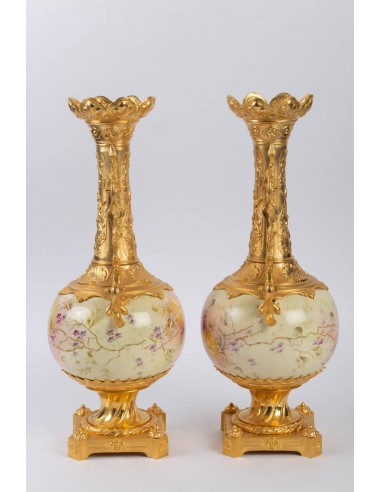 Pair of Gilt Bronze and Painted Porcelain Vases