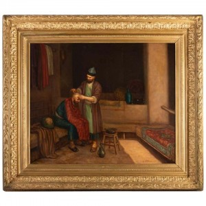 "Oil on Orientalist Canvas "" The Turkish Barber "", XIXth Century"