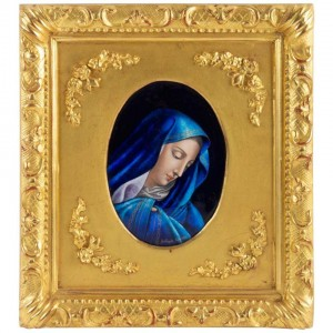 Enamel Plate The Virgin Mary by Jules Sarlandie (1874-1936)