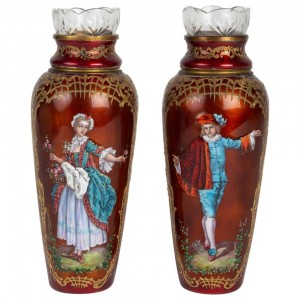 Pair of 19th Century Enamel Vases