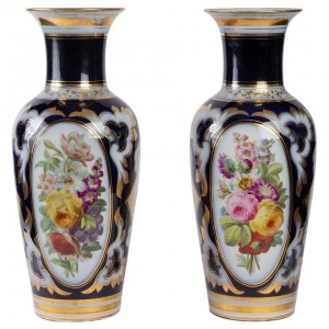 Pair of Porcelain Vases from Paris, XIXth Century, Napoleon III