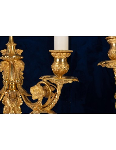 Pair of Louis XVI style wall lights, Gold Bronze