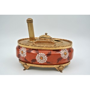 Inkwell in Gilded Brass and Hand-Painted Limoges Porcelain