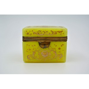 Yellow Yellow Opaline Box Enamelled with White and Gold Decors