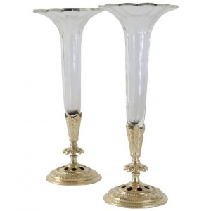 Pair of Soliflores, Crystal and Gilded Bronze, XIXth Century