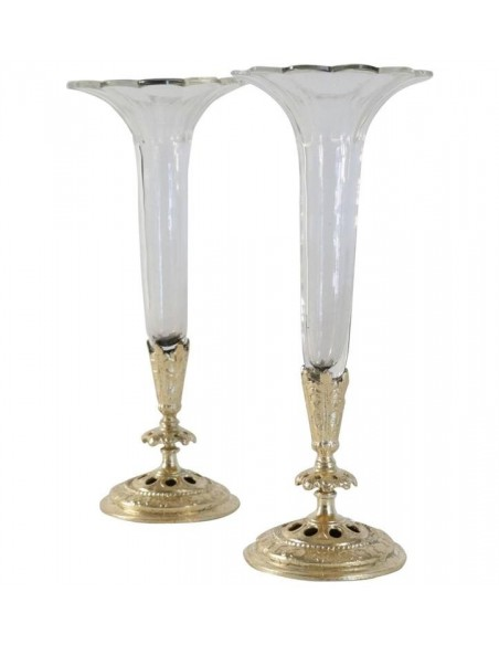 Pair of Soliflores, Crystal and Gilded Bronze