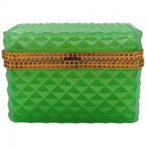 Green coloured Bohemian Crystal Box