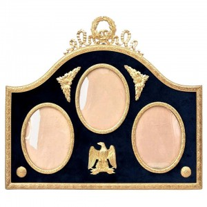 Three gilded brass and velvet picture frame
