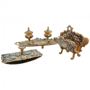 Early 20th century Cloisonné Bronze Desk Set