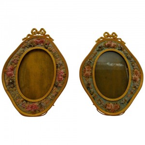 Pair of Gilt Bronze and Textile Photo Frames