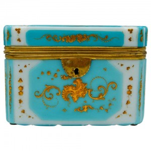 Overlay Box, Gold Enamelled Opaline