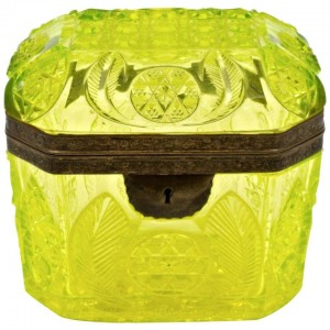 Yellow Color Cut Crystal Box