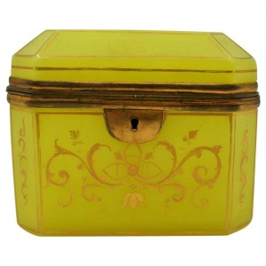 Yellow Opaline Box with Gold Decoration