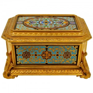 Bronze Box Gilded and Enamelled, Velvet Interior, Signed TAHAN
