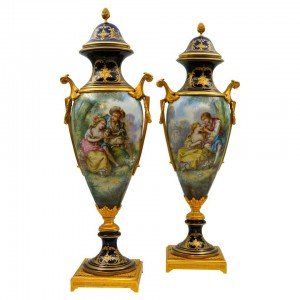 Pair of Covered Vases in Sevres Porcelain