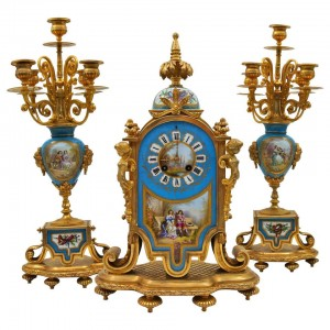 Painted and Gilded Bronze Porcelain Mantel Set