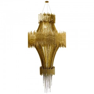 Chandelier in Brass with Swarovski Crystal