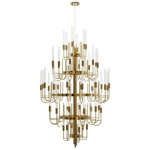Chandelier in Gold-Plated Brass with Crystal Glass