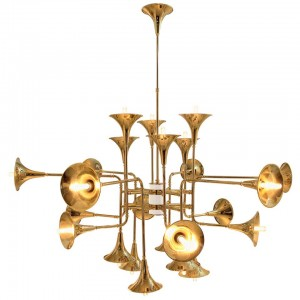 Chandelier in Gold and Brass