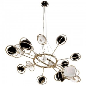 Pendant Light in Brass and Steel with Black and White Globes