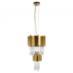 Pendant Light in Brass with Crystal Glass Details