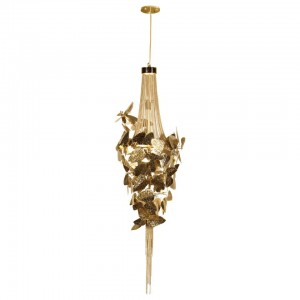 Pendant Light with Gold-Plated Brass and Amber Swarovski Crystals