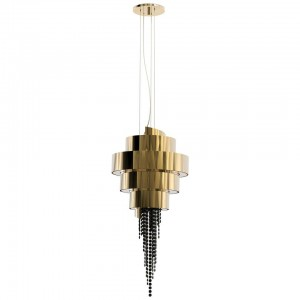 Pendant Light with Layered Brass and Smoked Swarovski Crystals