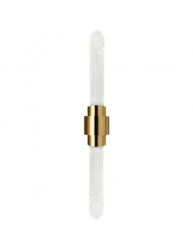 Sconce in Gold-Plated Brass with Crystal Glass Flutes