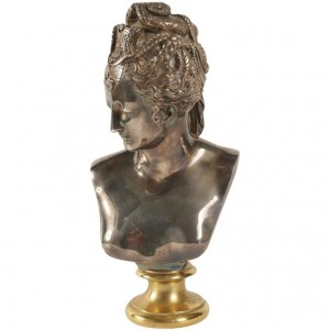 Buste of Diane in Bronze and Silver