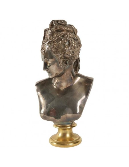 Buste of Diane in Bronze and Silver, Antique