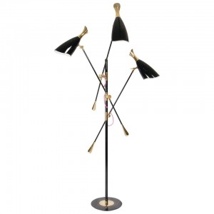 Floor Lamp in Black and Brass