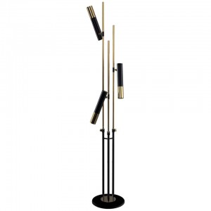 Floor Lamp in Black with Silver Detail