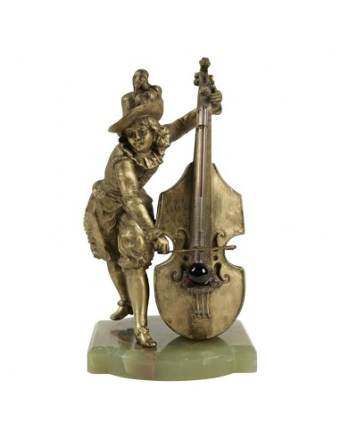 Barometer Representing a Cello Player in Antique