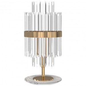 Table Lamp in Brass and Crystal Glass