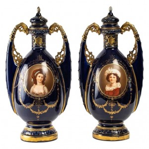 Pair of Vienna porcelain vases