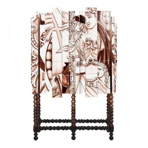 Cabinet with Hand-Painted Tiles