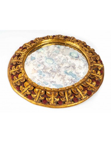 Round Giltwood and Painted Mirror