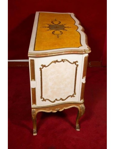 Italian commode from the 1950s, painted and gilded,