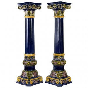 Pair Of  Blue Earthenware Columns