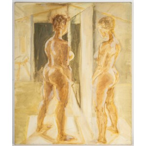 Nude Woman Looking in a Mirror