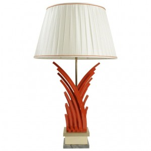 Very pretty lamp in painted metal and gold leaf base of marble from the 1970's, Vintage, Art