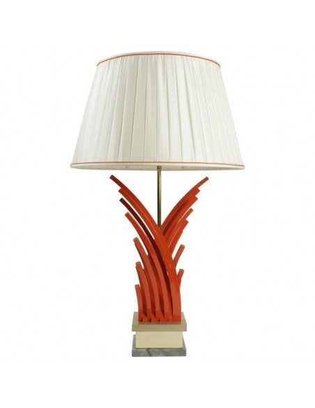 Very pretty lamp in painted metal and gold leaf base of marble from the 1970's