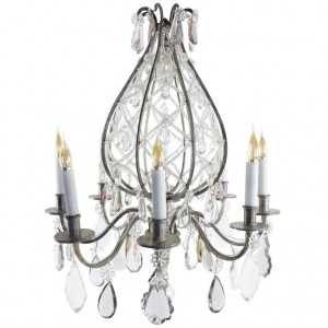 Hot Air Balloon style chandelier in silvered bronze
