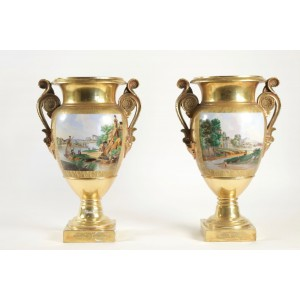 Pair of Vases in Old Paris Porcelain, Period Charles X
