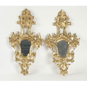 Pair of Gold Gilt Wooden Hand Carved Mirrors