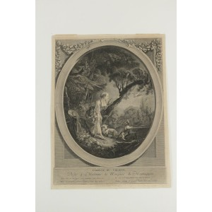 Romantic Steel Engraving from the 19th Century L'Arrive du Courrier""